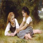 William Bouguereau (1825-1905)  Les Noisettes [Hazelnuts]  Oil on canvas, 1882  34 3/8 x 52 3/4 inches (87.5 x 134 cm)  Detroit Institute of Art